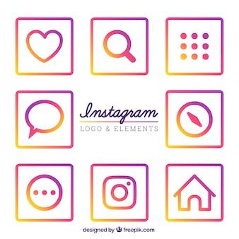 Inzameling van kleurrijke instagram iconen