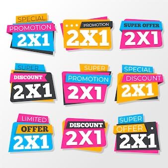 Inzameling van kleurrijke promotionele etiketten