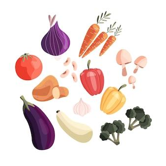 Inzameling van kleurrijke verse groenten die op witte achtergrond wordt geïsoleerd