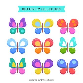 Inzameling van kleurrijke vlinders