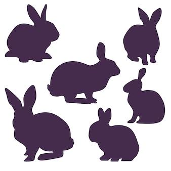 Inzameling van konijntjessilhouetten voor pasen