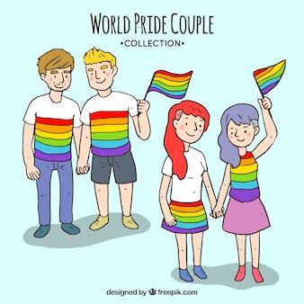 Inzameling van koppels met gay pride flag