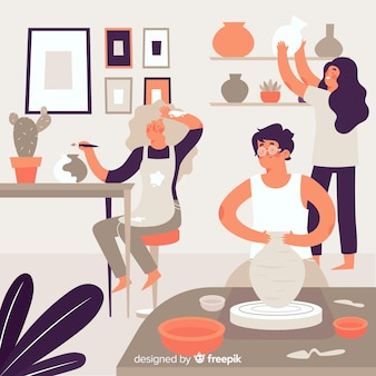 Inzameling van mensen die aardewerk maken