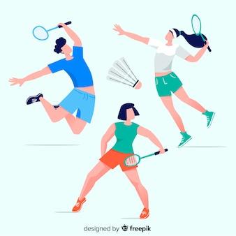 Inzameling van mensen die badminton spelen