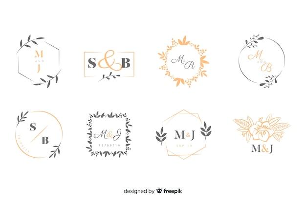 Inzameling van monogramemblemen met bladeren