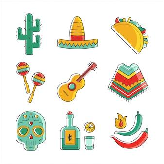 Inzameling van pictogrammen die mexicaanse traditionele symbolen vertegenwoordigen.