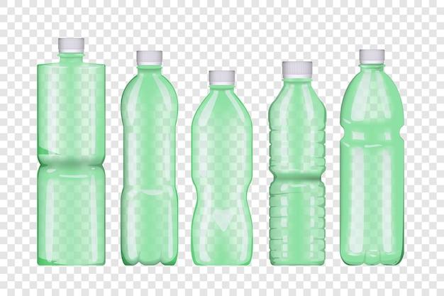 Inzameling van plastic flessen die op transparante achtergrond worden geïsoleerd.