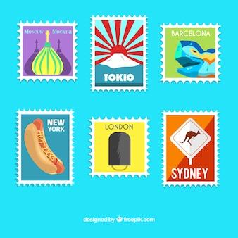 Inzameling van reiszegels in kleurrijk ontwerp