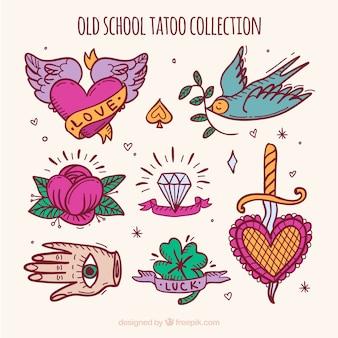 Inzameling van retro handgeschilderde tattoo