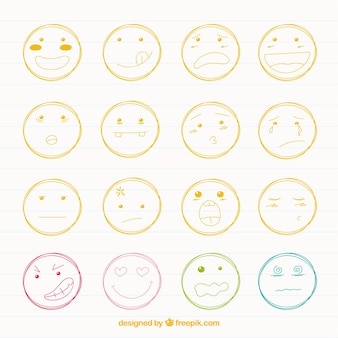 Inzameling van smileys sketches