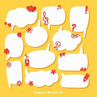 Inzameling van spraakbellen met decoratieve elementen