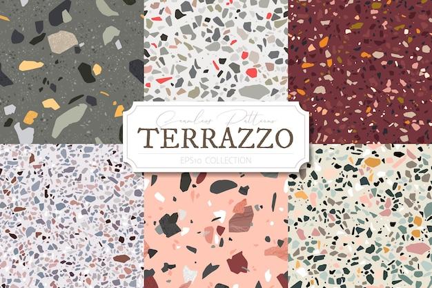 Inzameling van terrazzo abstracte reeks als achtergrond