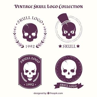 Inzameling van uitstekende schedel emblemen