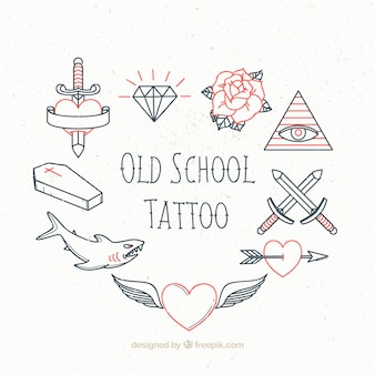 Inzameling van uitstekende schetsen tattoo