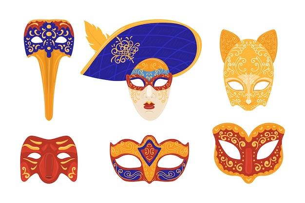 Inzameling van venetiaanse carnaval-maskers op witte achtergrond