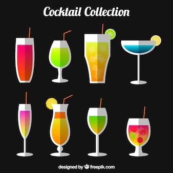 Inzameling van verfrissende dranken in vlakke vormgeving