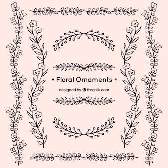 Inzameling van vintage handgetekende bloemenornament