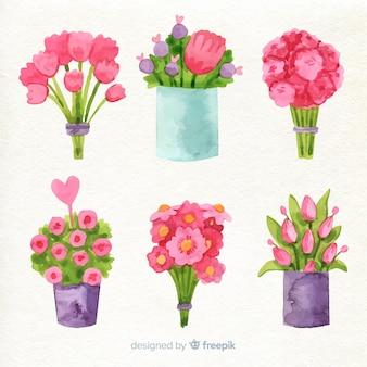 Inzameling van waterverfbloemen voor valentijnskaart
