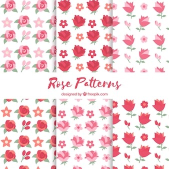 Inzameling van zes patronen met gekleurde rozen