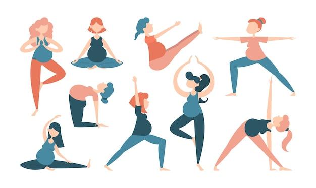 Inzameling van zwangere vrouw die yogaoefeningen doet