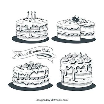 Inzameling van zwart-witte verjaardagscakes