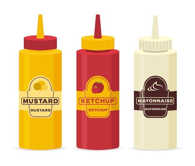 Inzamelingsfles en komsaus voor koken geïsoleerd op witte achtergrond. set van verschillende flessen met sauzen - ketchup, mosterd, soja, wasabi, mayonaise, bbq in plat design. illustratie.