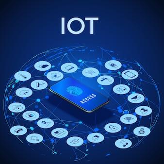 Iot isometrische concept illustratie