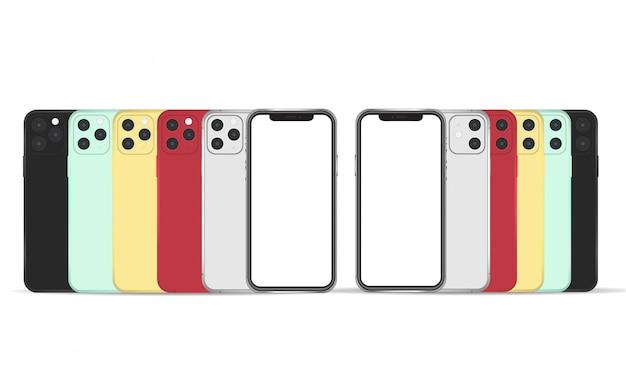 Iphone 11 mockupvoorwerp op achtergrond wordt geïsoleerd die.
