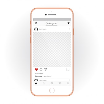 IPhone met mobiele UI-kit Instagram. Smartphone-mockup en chat-app