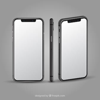 Iphone x met verschillende weergaven in realistische stijl