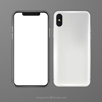 Iphone x met wit scherm in realistische stijl