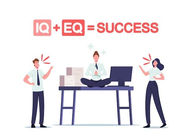 Iq en eq gelijk succesconcept. kantoormensen ruzie aan het werkbureau met ontspannen zakenvrouw sit in meditatie yoga lotus pose