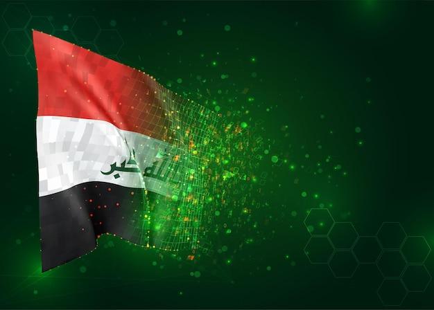 Irak, 3d vlag op groene achtergrond met polygonengon