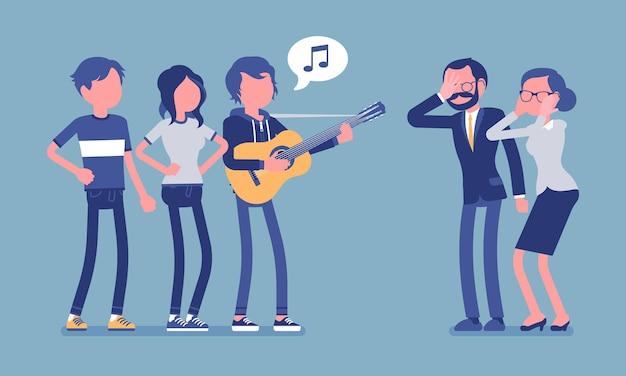 Irritant muziekconflict. groep jongeren met gitaar en mensen van middelbare leeftijd in stress met hard geluid, moderne zang maakt boos, irriteert ouders. vectorillustratie met anonieme karakters