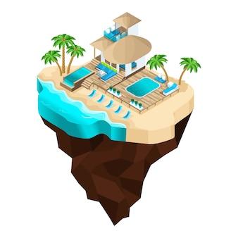 Is een fantastisch eiland, een cartoon, een luxe hotel, met uitzicht op zee voor een chique recreatie, palmbomen, zomerzon. vakantie in warme landen