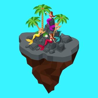 Is een sprookjeseiland, een tekenfilm, een meisje van zeemeerminnen, zittend op schoorsteenmantels, op een blauwe zee achtergrond. sprookjesachtige persona prachtige zeemeerminnen