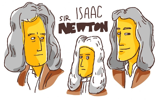 Isaac newton in gele en zwarte schets