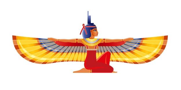 Isis, egyptische gevleugelde godin. vrouw, farao graf muurschildering element. oude egypte mythologie pictogram.