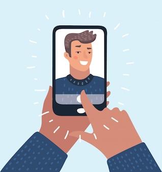 Islam gezicht mensen karakter man op telefoon arabische moslim op scherm