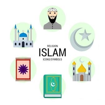 Islam religie symbolenpictogram Gratis Vector