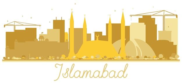 Islamabad pakistan city skyline gouden silhouet geïsoleerd op wit. vector illustratie. reisconcept voor website. islamabad stadsgezicht met monumenten.