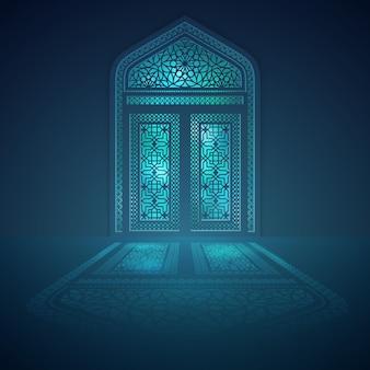 Islamitisch de moskervenster van het achtergrondontwerp met lichte schaduw