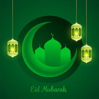 Islamitisch festival eid-al-fitr mubarak concept met hangende verlichte arabische lantaarns, halve maan en moskee