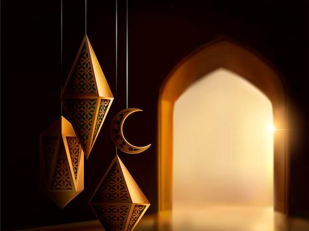 Islamitisch festivalontwerp met gebeeldhouwde lantaarns op bokeh boog interieur baround, 3d illustratie