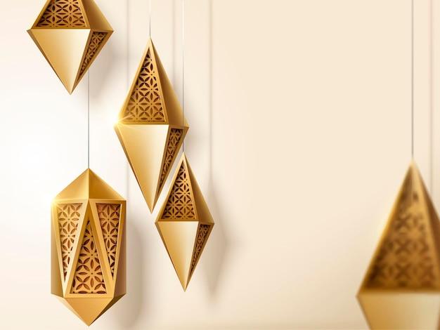 Islamitisch festivalontwerp met gouden gesneden lantaarns met kopieerruimte in 3d illustratie