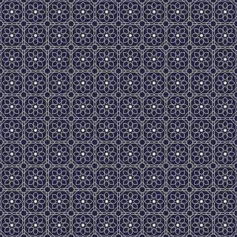Islamitisch geometrisch naadloos patroonbehang als achtergrond in luxe marine batikstijl