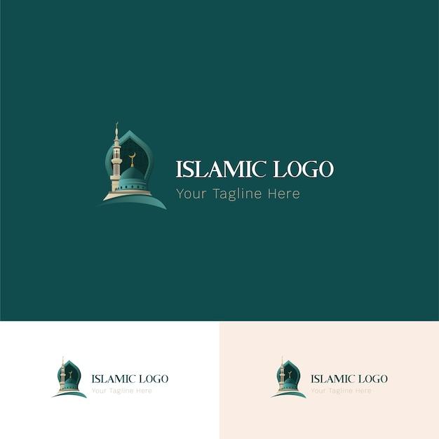 Islamitisch logo groen Premium Vector