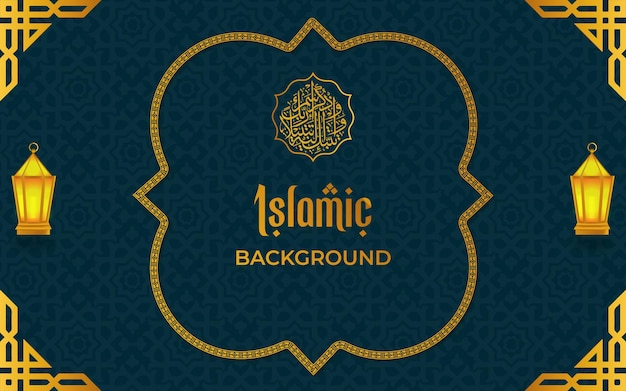 Islamitisch luxepatroon en grenskaderachtergrond met lantaarn