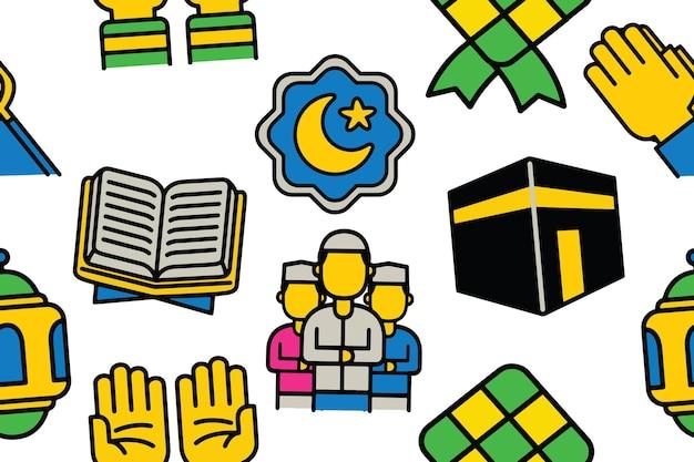 Islamitisch naadloos patroon in platte ontwerpstijl