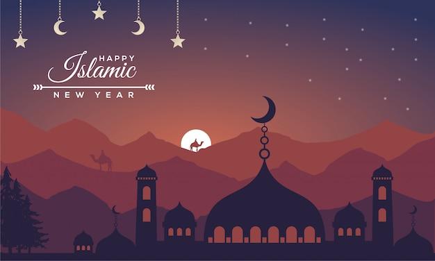Islamitisch nieuwjaar met lanscape-conceptenachtergrond